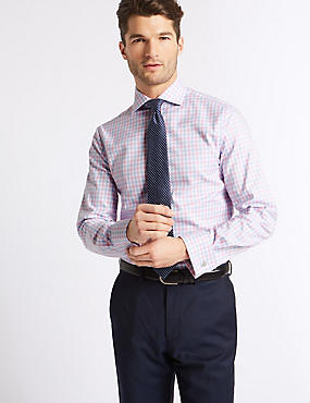 Pure Cotton Slim Fit Shirt, PINK MIX, catlanding