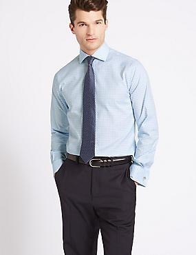 Pure Cotton Tailored Fit Shirt, BLUE MIX, catlanding