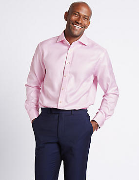 Pure Cotton Easy to Iron Regular Fit Shirt, PINK, catlanding