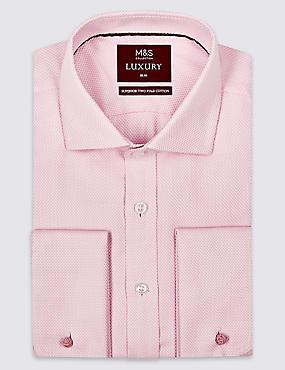 Pure Cotton Slim Fit Shirt , PINK MIX, catlanding