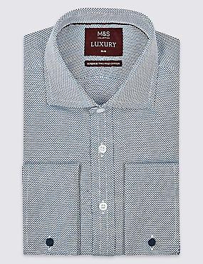 Pure Cotton Slim Fit Shirt , ROYAL BLUE, catlanding
