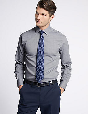 Cotton Rich Tailored Fit Oxford Shirt , NAVY, catlanding