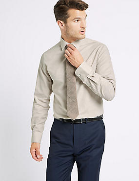 Cotton Rich Tailored Fit Oxford Shirt , NEUTRAL, catlanding