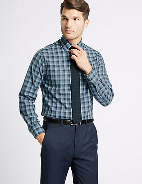 Cotton Rich Tailored Fit Shirt , NAVY MIX, catlanding