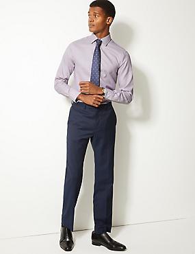 Pure Cotton Twill Slim Fit Shirt , FUCHSIA MIX, catlanding