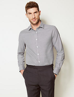 Pure Cotton Twill Tailored Fit Shirt, NAVY MIX, catlanding