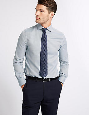 Pure Cotton Slim Fit Shirt, ROYAL BLUE, catlanding