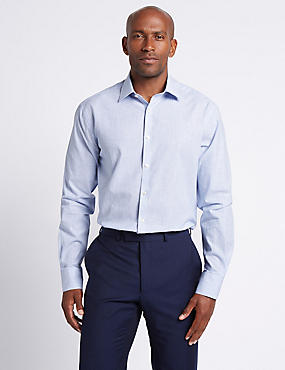 Linen Blend Tailored Fit Striped Shirt