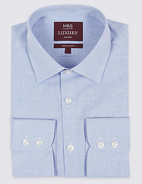 Linen Blend Tailored Fit Checked Shirt