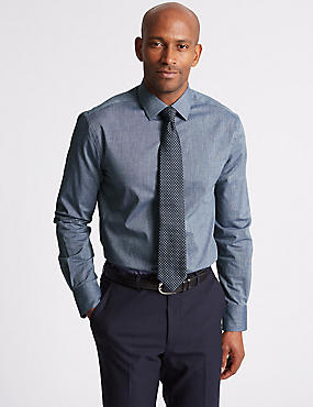 Linen Blend Tailored Fit Shirt, RICH BLUE, catlanding