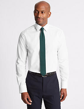 Linen Blend Tailored Fit Shirt, WHITE, catlanding