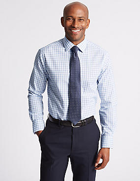 Linen Blend Tailored Fit Shirt, BLUE MIX, catlanding