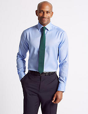 2in Longer Pure Cotton Tailored Fit Shirt, BLUE, catlanding