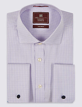 2in Longer Pure Cotton Non-Iron Textured Check Shirt