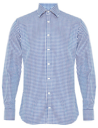 Pure Cotton Gingham Checked Twill Shirt Clothing