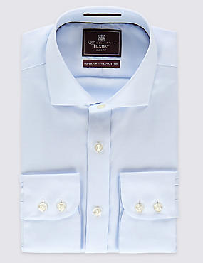 Pure Cotton Easy to Iron Slim Fit Shirt, SKY, catlanding