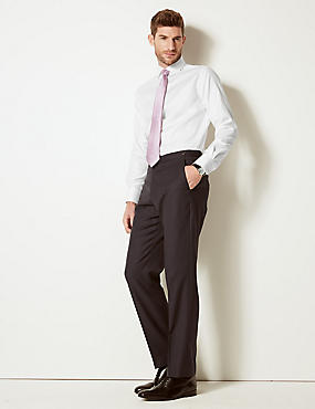 Pure Cotton Twill Tailored Fit Shirt, WHITE, catlanding