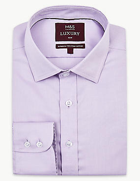 Pure Cotton Twill Slim Fit Shirt, LILAC, catlanding