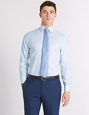 Pure Cotton Tailored Fit Shirt, BLUE MIX, catlanding