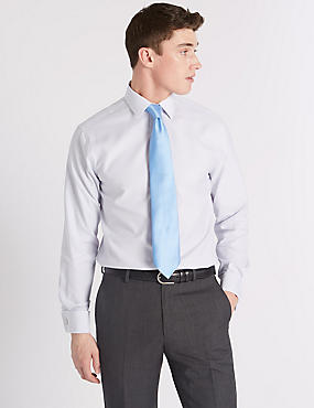 Pure Cotton Tailored Fit Shirt, GREY MIX, catlanding