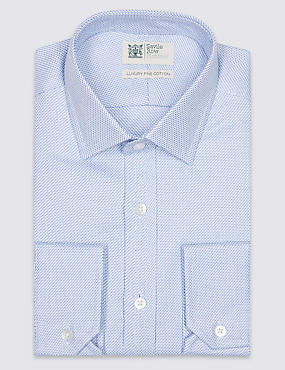 Pure Cotton Easy to Iron Tailored Fit Shirt, BLUE MIX, catlanding