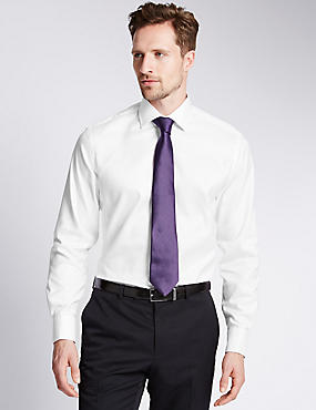 Pure Cotton Tailored Fit Luxury Herringbone Shirt
