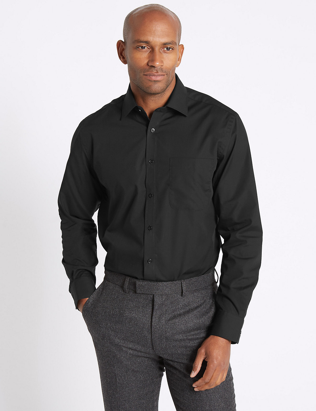 Mens Black Formal Shirts | M&S