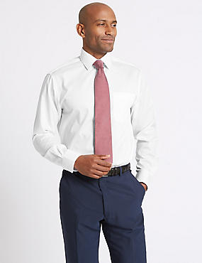 2in Longer Cotton Rich Easy to Iron Shirt, WHITE, catlanding