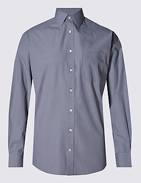Cotton Rich Easy to Iron Grid Checked Shirt