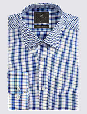 2in Longer Cotton Rich Shadow Checked Shirt