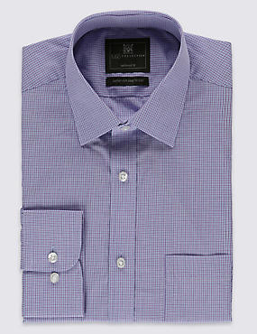 Cotton Blend Tailored Fit Micro Checked Shirt