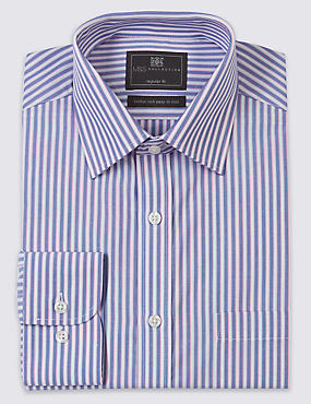 2in Longer Cotton Rich Easy to Iron Regular Fit Shirt