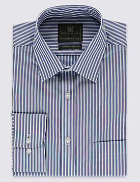 Cotton Blend Easy to Iron Wide Striped Shirt