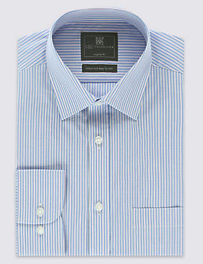 2in Longer Cotton Rich Easy to Iron Highlight Striped Shirt