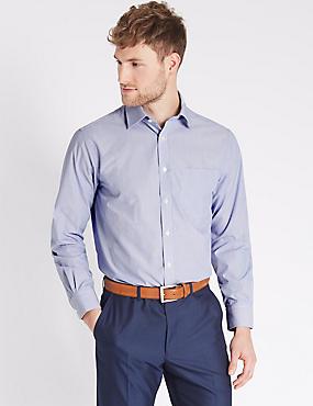 Cotton Rich Regular Fit Shirt, ROYAL BLUE, catlanding