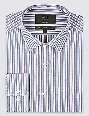 Cotton Rich Regular Fit Shirt with Pocket, BLUE MIX, catlanding