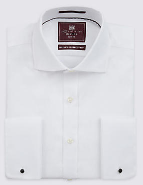 Slim Fit Cutaway Collar Double Cuff Shirt, WHITE, catlanding