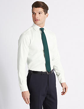Slim Fit Cutaway Collar Single Cuff Shirt, WHITE, catlanding