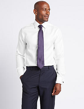 Slim Fit Classic Collar Double Cuff Shirt, WHITE, catlanding