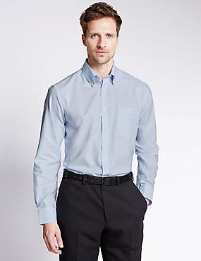 Easy to Iron Regular Fit Oxford Shirt, SKY, catlanding