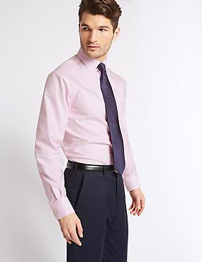 2in Longer Easy to Iron Regular Fit Oxford Shirt, PINK, catlanding