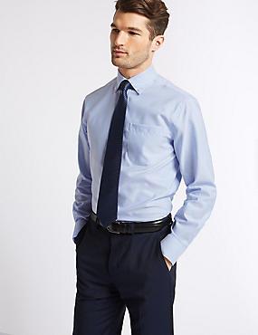 2in Longer Easy to Iron Regular Fit Oxford Shirt, SKY BLUE, catlanding