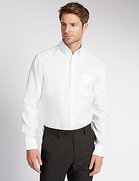 2in Longer Easy to Iron Regular Fit Oxford Shirt, WHITE, catlanding