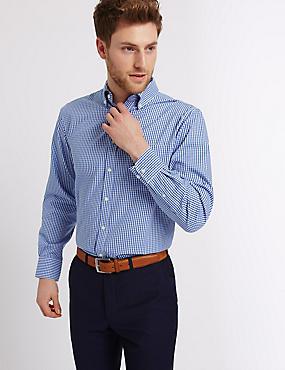 Pure Cotton Regular Fit Oxford Shirt, BLUE MIX, catlanding