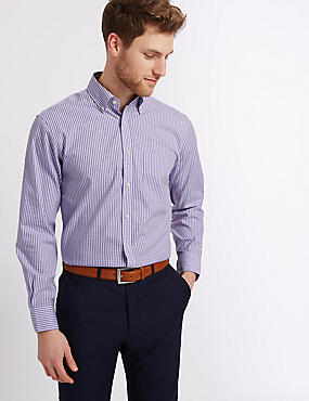 Pure Cotton Easy to Iron Oxford Shirt, LILAC MIX, catlanding