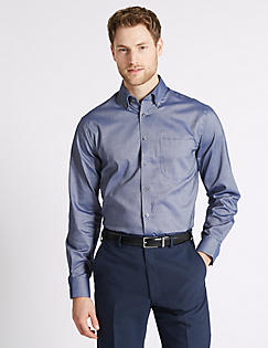Marks and Spencer 2in Longer Regular Fit Oxford Shirt white