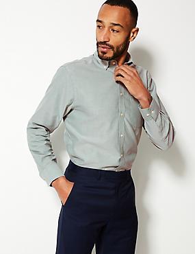 Pure Cotton Regular Fit Oxford Shirt, LIGHT GREEN, catlanding