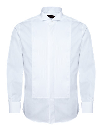 2in Shorter Pure Cotton Pleated Dress Shirt Clothing