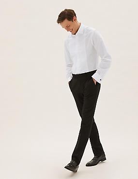 Cotton Blend Slim Fit Dinner Shirt, WHITE, catlanding