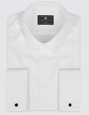 Cotton Blend Slim Fit Dinner Shirt